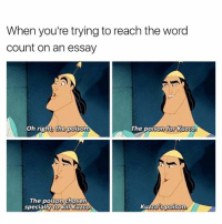 Every time 😂: When you're trying to reach the word  Count on an essay  oh right, the poison  The poison for Kuzco  The poison chosen  specially to kill Kuzco.  Kuzco's poison Every time 😂
