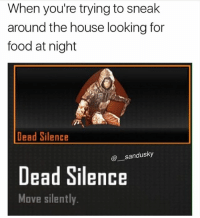 Alive, Food, and Memes: When you're trying to sneak  around the house looking for  food at night  tr  Dead Silence  @sandusky  Dead Silence  Move silently. Literally just did this. Anyways spam up that W if you're alive and well during realniggahours