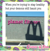Memes, Queen, and Haunting: When you're trying to stay healthy  but your demons still haunt you  Lanet  facebook.com  queens ofsass Leave me be 😱😱😱 #QueensofSass