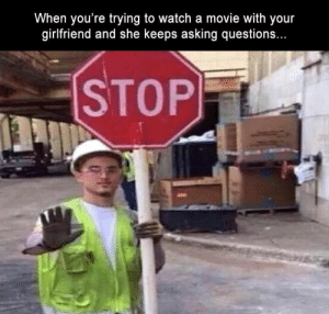 Funny, Memes, and Movie: When you're trying to watch a movie with your  gilfriend and she keeps asking question.s..  STOP Funny Memes Of The Day 28 Pics