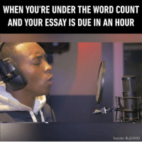 What what where who who where! Follow @9gag for more App📲👉@9gagmobile 👈 9gag meme school finals rapper whowhatwhere (credit: @devz.theartist ): WHEN YOU'RE UNDER THE WORD COUNT  AND YOUR ESSAY IS DUE IN AN HOUR  Youtube: BL@CKBOX What what where who who where! Follow @9gag for more App📲👉@9gagmobile 👈 9gag meme school finals rapper whowhatwhere (credit: @devz.theartist )