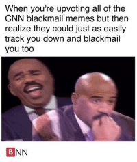 """<p>Think twice before you upvote via /r/MemeEconomy <a href=""""http://ift.tt/2tuRT31"""">http://ift.tt/2tuRT31</a></p>: When you're upvoting all of the  CNN blackmail memes but then  realize they could just as easily  track you down and blackmail  you too  BNN <p>Think twice before you upvote via /r/MemeEconomy <a href=""""http://ift.tt/2tuRT31"""">http://ift.tt/2tuRT31</a></p>"""