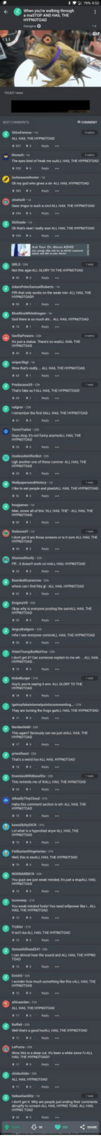 ALL HAIL THE HYPNOTOAD: when you're walking theough  BEST COMMENTS  L HAL THE HYPNOTOAD  Riarach  The ayes kind of freak me auALL HAL THE HYPNOTOAD  Ch that's neat I really wan ALL HAIL THE HYPDTOAD  GALS-3  Nat this aga ALL GLORY TO THE HYPNOTOAD  Ptft that only warks on the weak min-ALL HNL THE  wow thats reely.. ALL HAIL THE HYPNOTOAD  That's fake  S41  es 1ALL HAL THE HY  fest TALL HAL THE  TermiTreiter 22  Guys sop, t's not frmy 0nymouLL HAIL THE  HYPNOTOAD  Ugh another one of these comme- ALL HNL THE  I like to eat peaple and platALL HAIL THE IMPNOTOAD  haojpenes- 1  where cas i fad this gl-ALL HAIL HYPNOTOAD  EnigavB-2  Okay why is everyone posting the semALL HAIL THE  everyone  commALL HAIL THE HYPNOTOAD  I dant get FR? Can someone esplain to me wh  ALL HAL  Guy's, youn. Eayingit wto-AL1ต.ORY TO THE  They ane turning the froga 9aALL HAIL THE HYPNOTCAD  Tht, agzun? Seriously can we lust stALL HAL THE  prestfeast-22  a weird loo ALL HAL  Thia seminds  me of nAL  LHAL THE HYNOTOAD  ALL HAIL THE  Well this Is  L HAIL THE HYPNOTDAD  You guys are just weak minded, Hs junt a stupALL HAIL  13  ly  You weak minded foolal You eed wllpawsr hea I. ALL  HAIL THE HYPNOTOAD  Trykler 21h  ree ALL HAIL THE  the sound and  ALL HAIL THE HYPNO  Enishi-22s  I wonder how much something lke this GALL HAILTHE  L HAIL THE HYPNOTOAD  Well hat's a good IoaALL HAIL THE HYPNDTOAD  ALL HAIL HYPNOTOAD  brupty to soreane ALL HARL HYPNO TOAD ALL HAIL ALL HAIL THE HYPNOTOAD