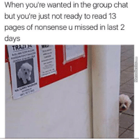Group Chat, Memes, and Chat: When you're wanted in the group chat  but you're just not ready to read 13  pages of nonsense u missed in last 2  days  TRAZİG