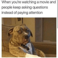 Me 😂: When you're watching a movie and  people keep asking questions  instead of paying attention Me 😂