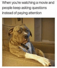 Memes, Movie, and Tag Someone: When you're watching a movie and  people keep asking questions  instead of paying attention  dabmoms TAG someone who does this