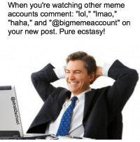 "A meme about memes ✅ that off my list.: When you're watching other meme  accounts comment: ""lol,"" ""Imao,""  ""haha,"" and ""@bigmemeaccount"" on  your new post. Pure ecstasy! A meme about memes ✅ that off my list."