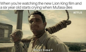 Crying, Dank, and Memes: When you're watching the new Lion King film and  a six year old starts crying when Mufasa dies  NETFLIX  First time? Me irl by TheRoyalManbird MORE MEMES