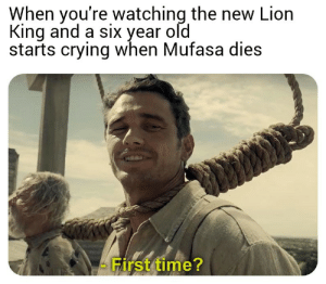 Crying, Dank, and Memes: When you're watching the new Liorn  King and a six year old  starts crying when Mufasa dies  First time? Meirl by foetusdotcodotuk MORE MEMES
