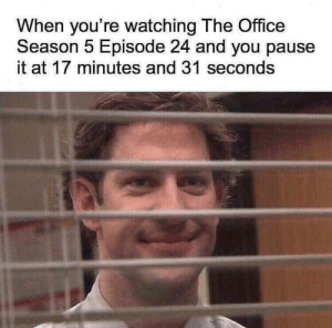 Dank, Meme, and Memes: When you're watching The Office  Season 5 Episode 24 and you pause  it at 17 minutes and 31 seconds *insert office meme here* by salmanahmad_10 MORE MEMES