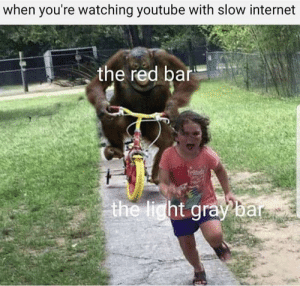 Dank, Internet, and Memes: when you're watching youtube with slow internet  the red bar Me irl by Siluke MORE MEMES