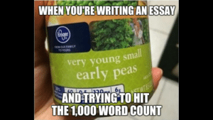 Dank, Family, and Memes: WHEN YOU'RE WRITING AN ESSAY  FROMOUR FAMILY  TO YOURS  very young small  early peas  0%  AND TRYING TO HIT  THE 1,000 WORD COUNT Fuck essays by tristan10000 FOLLOW 4 MORE MEMES.