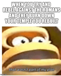 Memes, History, and Roman: WHEN YOUTRYAND  REBELAGAINSTTHEROMANS  YOUR TEMPLE YOU REBUILT  that wasn't part of my plan