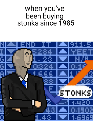 Been, Nes, and End: when you've  been buying  stonks since 1985  END IT  5284  1. 23  0824  1.EFE  88  YEET  01F  STONKS  1902  16969  1.43 Buy my stonks on NES