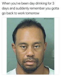 Drinking, Funny, and Sorry: When you've been day drinking for 3  days and suddenly remember you gotta  go back to work tomorrow  @Friendofbae Sorry Tiger. @brobible
