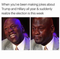 Season finale of America is tomorrow boys and girls.: When you've been making jokes about  Trump and Hillary all year & suddenly  realize the election is this week Season finale of America is tomorrow boys and girls.