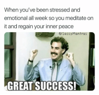 Peace, Success, and Been: When you've been stressed and  emotional all week so you meditate on  it and regain your inner peace  &SassyMantras  GREAT SUCCESS