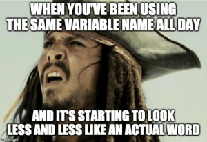 I copy and pasted it, how is it spelled wrong: WHEN YOUVE BEEN USING  THE SAME VARIABLE NAME ALL DAY  AND ITS STARTING TOLOOK  LESS AND LESS LIKE AN ACTUAL WORD  imgflip.com I copy and pasted it, how is it spelled wrong