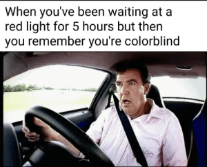 Oopsie!: When you've been waiting at a  red light for 5 hours but then  Vou remember vou re colorblind Oopsie!