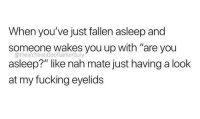 """Fucking, Memes, and Fallen: When you've just fallen asleep and  someone wakes you up with 'are you  asleep?"""" like nah mate just having a look  at my fucking eyelids  @thearchbishOpofbanterbury I am currently in the process of removing memes from my cellular device. I think this is part 6"""