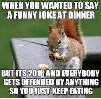 Funny Jokes Images: WHEN YOUWANTED TO SAY  A FUNNY JOKE AT DINNER  BUTITS 2016 AND EVERYBODY  GETSOFFENDEDBY ANYTHING  SO YOU UST KEEPEATING