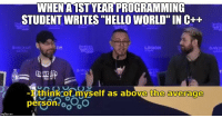 """Hello, World, and Programming: WHENA 1ST YEAR PROGRAMMING  STUDENT WRITES """"HELLO WORLD"""" IN C++  EW  wit  ON  witch  LEGION  con  BLAD  CaO  thinkcof myself as above the average  person oo  imgflip.com They have no idea whats ahead of them"""