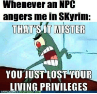 Memes, Skyrim, and 🤖: Whenever an NPC  angers me in SKyrim:  THAT SIT MISTER  YOU JUST LOST YOUR  LIVING PRIVILEGES  VIDEOGAMESMEMMEBASECOM Not just Skyrim, happens in Fallout too...  - Vault Dweller