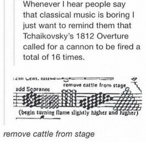 Dank, Memes, and Music: Whenever I hear people say  that classical music is boring  just want to remind them that  Tchaikovsky's 1812 Overture  called for a cannon to be fired a  total of 16 times.  2in Cent. uc-  remove cattle from stage,  add Sopranos  (begin turning flame slightly hlgher and  higher)  remove cattle from stage Begin turning flames slightly higher and higher by hannahisawkward FOLLOW 4 MORE MEMES.