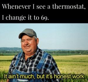69 should be the the ideal temperature.: Whenever I see a thermostat,  I change it to 69.  It ain't much, but it's honest work 69 should be the the ideal temperature.