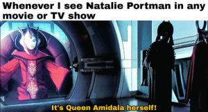 Meme, Queen, and Movie: Whenever I see Natalie Portman in any  movie or TV show  It's Queen Amidala herself! Making a meme from every line of the Prequels: Day 82
