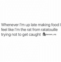 SarcasmOnly: Whenever I'm up late making food l  feel like lI'm the rat from ratatouille  trying not to get caught as only SarcasmOnly