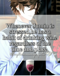 Memes, 🤖, and Seven: Whenever Jumin is  dshet  has a  habit of drinking wine  regardless of the  time and place. open for more🌌 | Info by: - ⠀ ❄ Character: Jumin Han ⠀ I'm thinking to do some MM awards hMm ⠀ Q ♔ - A ♚ - ⠀ -《 🌸🍃 》 ⠀ ταgs ‿➹⁀ MysticMessenger Zen RyuHyun JaeheeKang JuminHan Yoosung YoosungKim Seven 707 LucielChoi SaeyoungChoi SaeranChoi Saeran Rika V Otome OtomeGame Facts MysticMessengerFact ProtectV2k16 Anime ☞This fact is proven!☜
