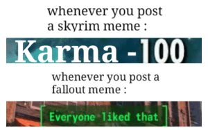 Skyrim gay fallout good: whenever you post  a skyrim meme:  Karma -100  whenever you post a  fallout meme  Everyone 1iked that Skyrim gay fallout good