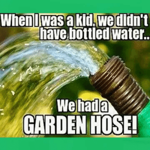 Memes, Water, and 🤖: Wheniwas a kid.wedidn't  have bottled water.  We  GARDEN HOSE!  hada
