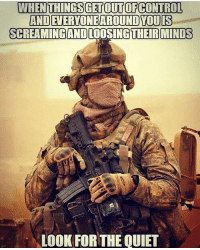 America, Friends, and Memes: WHENTHINGSGETOUTOFCONTROL  AND EVERYONEAROUND YOUIS  SCREAMINGAND LOOSING THEIR MINDS  LOOK FOR THE QUIET . ✅ Double tap the pic ✅ Tag your friends ✅ Check link in my bio for badass stuff - usarmy 2ndamendment soldier navyseals gun flag army operator troops tactical armedforces weapon patriot marine usmc veteran veterans usa america merica american coastguard airman usnavy militarylife military airforce tacticalgunners