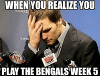 Cincinnati Bengals, Nfl, and Patriotic: WHENYOUREALIZEYOU  CONFLMEMEZ  THE  PLAY THE BENGALSWEEK 5 The Patriots look to take on the undefeated Cincinnati Bengals! Credit: Tessalynn Johnson   #Patriots Nation #Bengals Nation