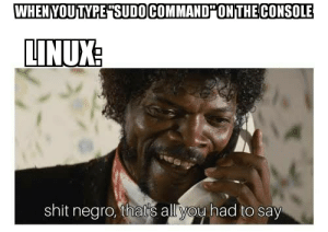 Shit, Linux, and All: WHENYOUTYPE SUDOCOMMAND ONTHECONSOLE  LINUX  shit negro, that's all you had to say The first thing i learnt