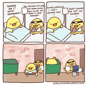 At the Hospital [OC]: WHERE  AM 1?  You PASSED OUT AND  SOUND EXPENSIVE  I CAN'T  AN AMBULANCE  WHAT  DON'T WORRY  WE GOT You  WAS CALLED. YOu  NEED To HAVE  HAPPENED?  AFFORD THAT  SURGERY  COVERED  WHOLESOMECOMICS.COM At the Hospital [OC]