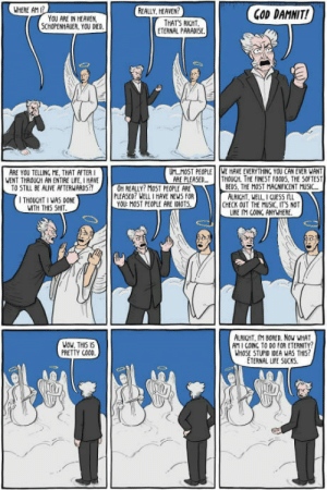 Why heaven isnt actually that great. by ExistentialComics: WHERE AM  REALLY HEAVEN  YOU ARE IN HEAVEN  SCHOPENHAUER, YOU DED.  COD DAMNIT!  THATS RICHT  ETERNAL PARADISE  ARE YOU TELLING . THAT AFTER I  WENT THROUCH AN ENTIRE LIFE, I HAVE  TO STILL BE ALIVE AFTERWARDS  ULM0ST PEOPLE | |WE HAVE EVERYTHING. YOU CAN EVER WANT  ARE PLEASED... THOUCH. THE FINEST FOODS, THE SOFTEST  OH REALLY? MOST PECPLE ARE  PLEASED? WELL I HAVE NEWS FOR  YOU: MOST PEOPLE ARE IDIOTS  BEDS, THE MOST MACNIFICENT MUSI  ALRICHT, WELL I cUESS  LIKE IM COINC ANYWHERE.  HOUCHTIWASpNE  CHECK OUT THE MUSIC, ITS NOT  WITH 께5 SHIT  NOu, THIS IS  PRETTY COOD  ALRIGHT, IM BORED. Nov WHAT  AM 1 COINC TO DO FOR ETERNITY  HOSE STUPID IDEA WAS THIS  ETERNAL LIFE SUCKS. Why heaven isnt actually that great. by ExistentialComics