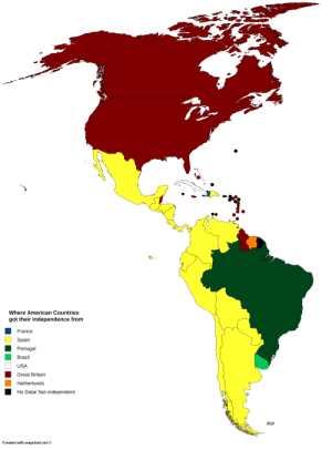 Tumblr, Zoom, and American: Where American Countries  got their independence from  France  Spain  Portugal  Brazil  USA  Great Britain  Netherlands  No Data/ Not independent  Created with mapchart.net mapsontheweb:  Where American countries got their  independence from.