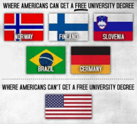 Brazil, Free, and Germany: WHERE AMERICANS CAN CET A FREE UNIVERSITY DECREE  ORWAY  FINLAND  SLOVENIA  BRAZIL  GERMANY  WHERE AMERICANS CAN'T GET A FREE UNIVERSITY DECREE <p>Free Degree.</p>