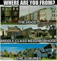 Friends, Memes, and The Hood: WHERE ARE YOUFROM?  THE HOOD  MIDDLE CLASS NEIGHBORHOOD  THE SUBURBS rapsavages twist your fingers and throw them sets up ⬇️ ➡️ DM 5 FRIENDS FOR A SHOUTOUT