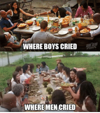 Crying, Memes, and Credited: WHERE BOYS CRIED  WHERE MEN CRIED Don't cry....don't cry... -DK  Credit to: Magdiel Sifuentes