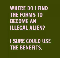 Memes, Alien, and California: WHERE DO I FIND  THE FORMS TO  BECOME AN  ILLEGAL ALIEN?  I SURE COULD USIE  THE BENEFITS. California loves criminals.