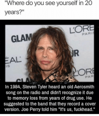 """Aerosmith, American Idol, and Funny: """"Where do you see yourself in 20  years?""""  PARI  GLAM  AL  IS  In 1984, Steven Tyler heard an old Aerosmith  song on the radio and didn't recognize it due  to memory loss from years of drug use. He  suggested to the band that they record a Cover  version. Joe Perry told him """"It's us, fuckhead."""" he was so funny on american idol"""