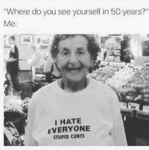 """Tumblr, Blog, and Http: Where do you see yourself in 50 years?""""  Me:  23  I HATE  EVERYONE  STUPID CUNTS awesomesthesia:  That would be me even today if i would own the shirt"""