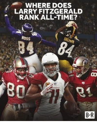 Future, Larry Fitzgerald, and Time: WHERE DOES  LARRY FITZGERALD  RANK ALL-TIME?  MOSS  BROWN  80  ARDINALS  B R Larry Fitzgerald turns 35 today. The future Hall of Famer is one of the 🐐 WRs