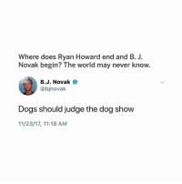 this is genius 🤩: Where does Ryan Howard end and B. J  Novak begin? The world may never know.  B.J. Novak  @bjnovak  Dogs should judge the dog show  11/23/17, 11:18 AM this is genius 🤩