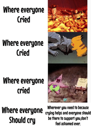 Everyone should cry and we should all be there to support them.: Where everyone  Cried  000  Where everyone  Cried  Where everyone  cried  Wherever you need to because  Where everyone crying helps and everyone should  be there to support you,don't  feel ashamed ever.  Should cry Everyone should cry and we should all be there to support them.