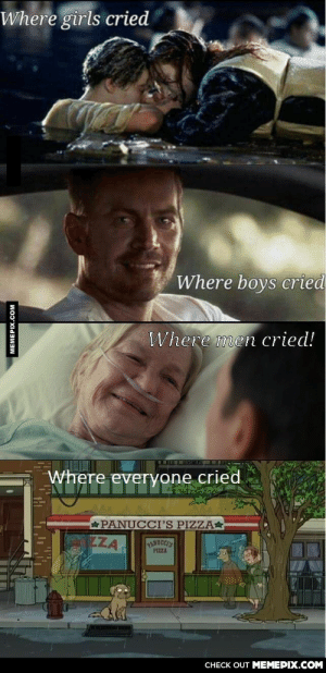 Here, I've added the real feelsomg-humor.tumblr.com: Where girls cried  Where boys cried  Where men cried!  Where everyone cried  PANUCCI'S PIZZA*  ZZA  RANUCCES  PIZZA  CHECK OUT MEMEPIX.COM  MEMEPIX.COM Here, I've added the real feelsomg-humor.tumblr.com